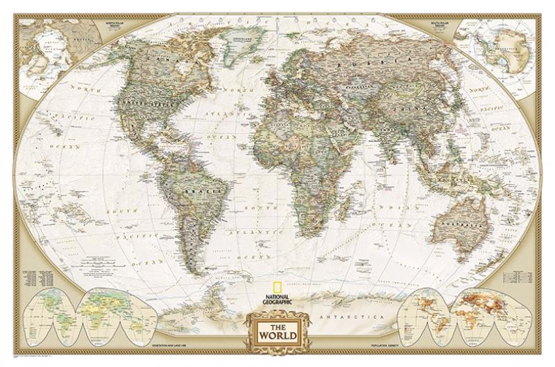 Dünya Haritası National Geographic Kanvas Tablo