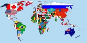 Dunya Haritasi Ulkelerin Bayraklari ile Yapilmis 2 Cografya Kanvas Tablo
