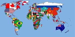 Dunya Haritasi Ulkelerin Bayraklari ile Yapilmis 3 Cografya Kanvas Tablo