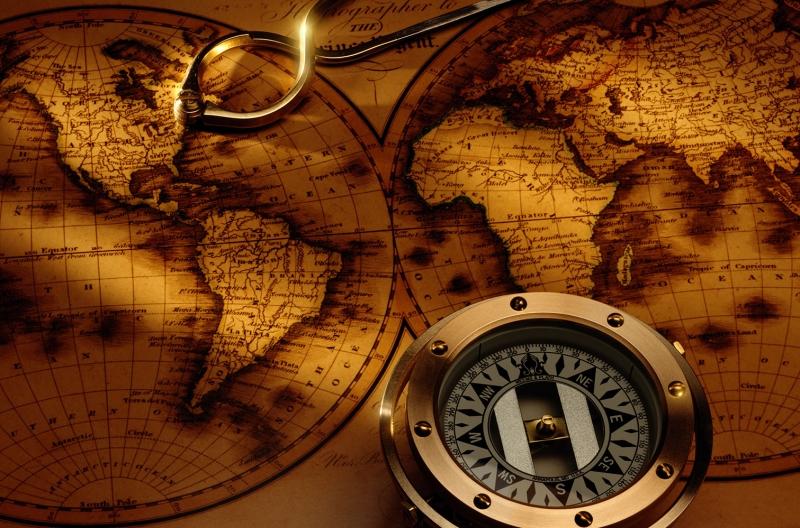 Dunya Haritasitasi ve Pusula 1 HD Goruntu Eski Cizim Dunya Haritasi Cografya Canvas Tablo