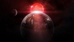 Dünya ve Ay Kırmızı Işık Kanvas Tablo