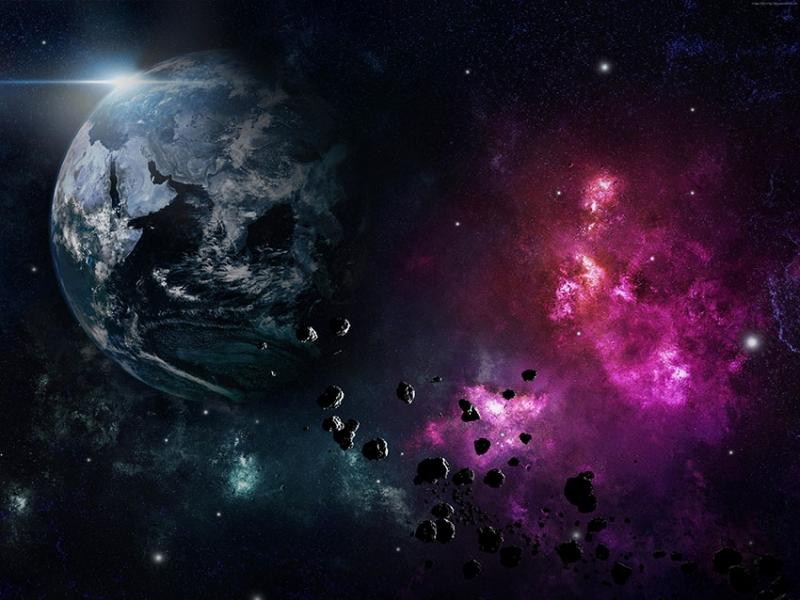 Dünya ve Meteorlar Uzaydan Görünüm Dünya & Uzay Kanvas Tablo