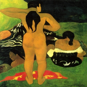 Duş Alan Tahitili Kadın Tahitian Women Bathing Paul Gauguin Reproduksiyon Kanvas Tablo