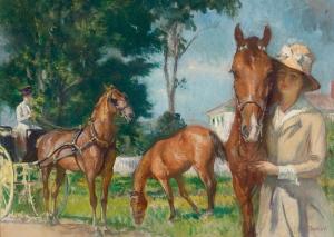 Edmund Charles Yeni Şato Atlar Yağlı Boya Klasik Sanat Kanvas Tablo