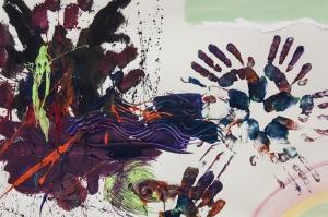 El İzleri Boyalar Sanat Kanvas Tablo