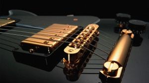 Elektro Gitar Siyah Altın Yağlı Boya Sanat Kanvas Tablo