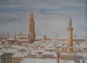 Emilia Rizzini İtalya Şehir Manzarası Yağlı Boya Klasik Sanat Kanvas Tablo