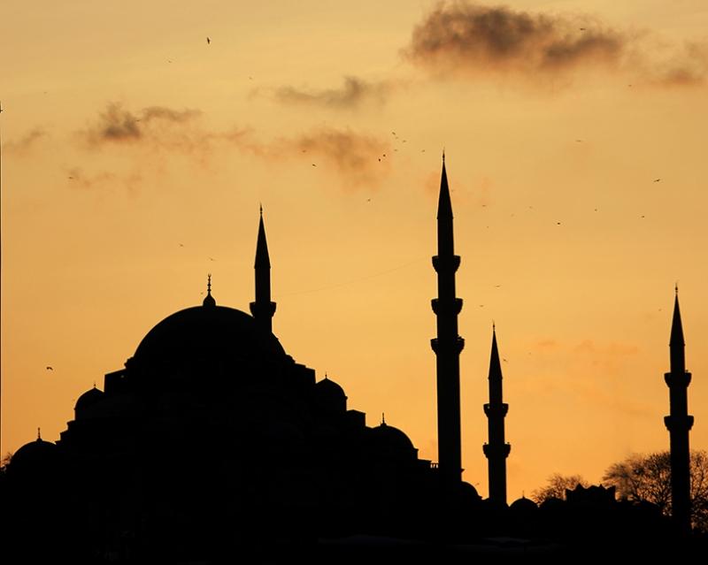 Eminönü Camii İstanbul Günbatımı Dünyaca Ünlü Şehirler Kanvas Tablo