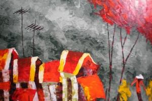 Endonezya Dağ Köyleri Manzara-1 Modern Sanat Kanvas Tablo