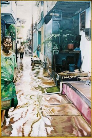 Endonezya Sokak Manzarası Modern Sanat Kanvas Tablo