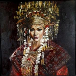 Endonezya Yerel Kıyafetli Sumatra Kızları-4 Modern Sanat Kanvas Tablo