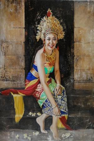 Endonezya Yerel Kıyafetli Sumatra Kızları-5 Modern Sanat Kanvas Tablo