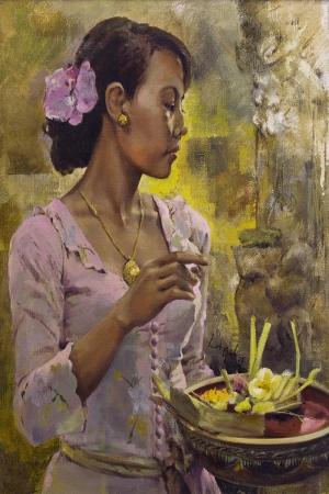 Endonezya Yerel Kıyafetli Sumatra Kızları-6 Modern Sanat Kanvas Tablo