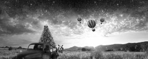 Eski Araba, Balon ve Yıldızlar Panaroma Panaromik Manzara Kanvas Tablo