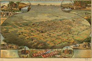 Eski Arizona Haritası Kanvas Tablo