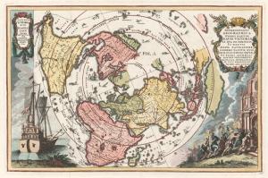 Eski Çizim Denizcilik Dünya Haritası-2 Kanvas Tablo