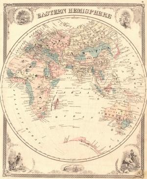 Eski Çizim Denizcilik Dünya Haritası 4 Kanvas Tablo