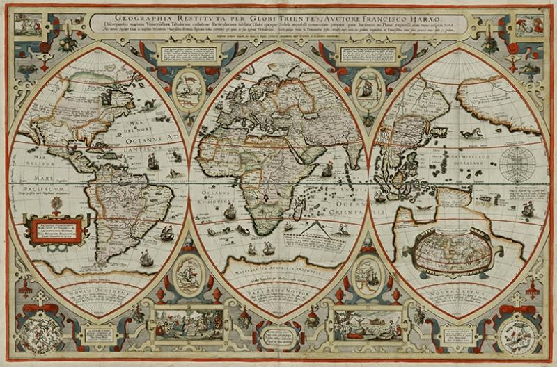 Eski Çizim Denizcilik Dünya Haritası-4 Kanvas Tablo