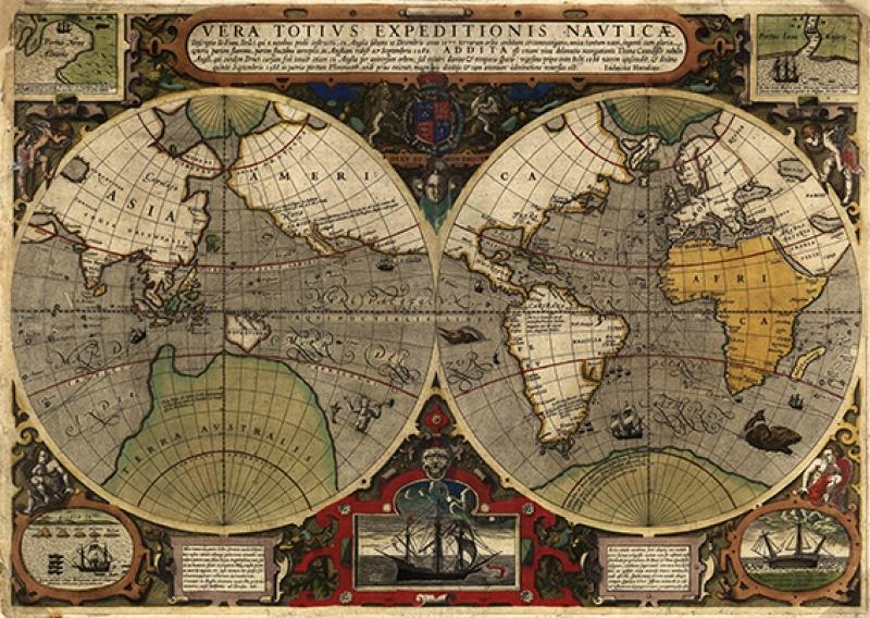 Eski Çizim Denizcilik Dünya Haritası-8 Kanvas Tablo