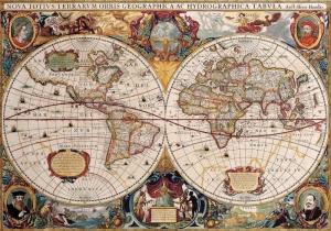 Eski Cizim Dunya Haritasi 12 Cografya Canvas Tablo