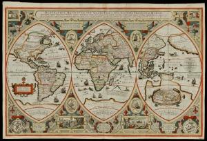 Eski Cizim Dunya Haritasi 3 Cografya Canvas Tablo