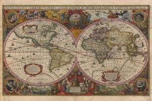 Eski Cizim Dunya Haritasi 5 Cografya Canvas Tablo