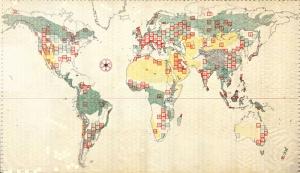 Eski Çizim Dünya Haritası-5 Kanvas Tablo