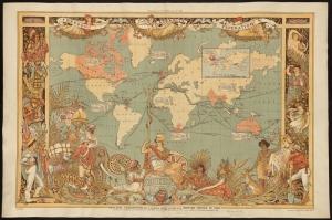 Eski Cizim Dunya Haritasi 6 Cografya Canvas Tablo