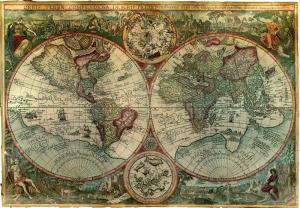 Eski Cizim Dunya Haritasi 7 Cografya Canvas Tablo