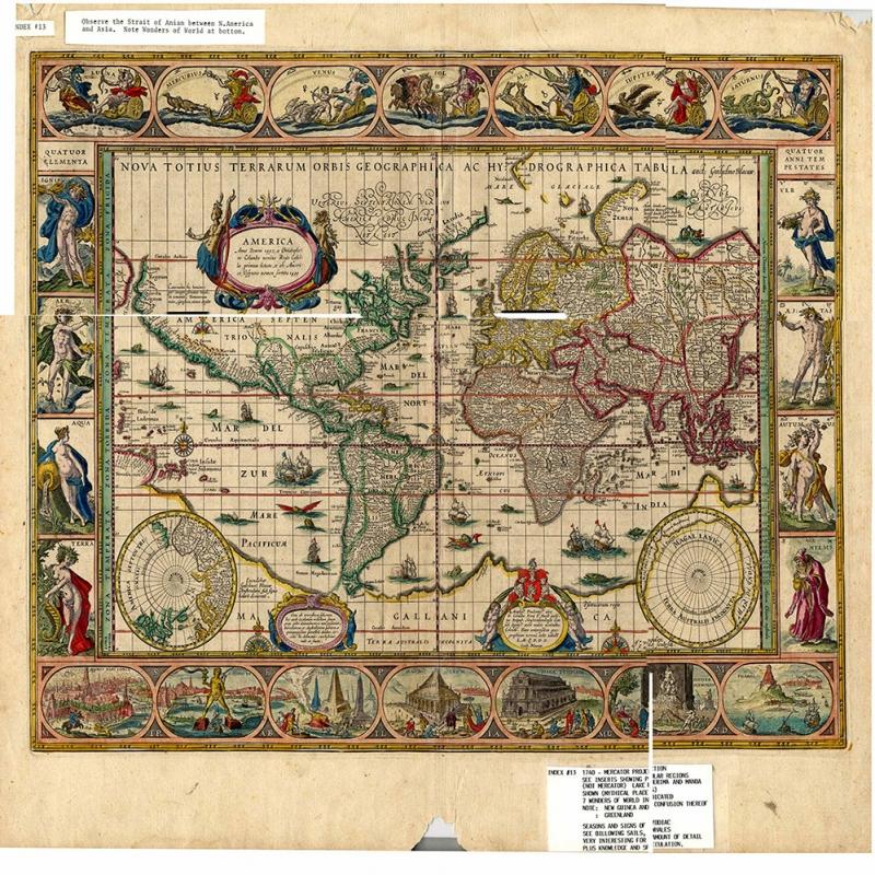 Eski Cizim Dunya Haritasi 9 Cografya Canvas Tablo