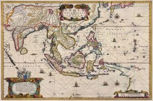 Eski Cizim Hindistan Japonya Cin Haritasi 13 Cografya Canvas Tablo