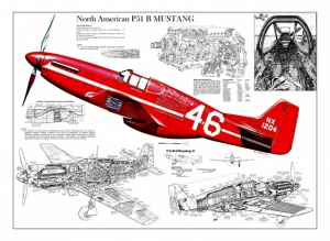 Eski Çizim İllustrasyon Uçak Kanvas Tablo