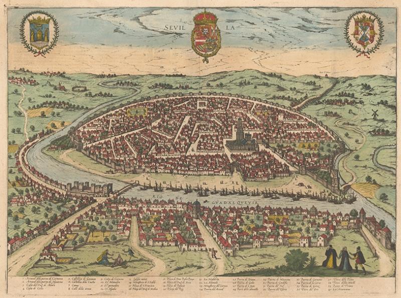 Eski Çografya Dünya Haritası Sevilla Kanvas Tablo