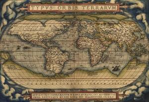 Eski Dünya Haritası Çoğrafya Kanvas Tablo