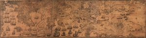 Eski Dünya Haritası Panaroma Kanvas Tablo