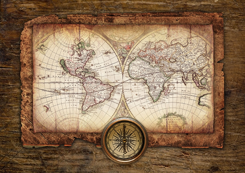 Eski Harita Pusula Ahşap Tahta ve Denizcilik Kanvas Tablo