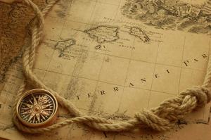 Eski Harita, Pusula ve Halat Kanvas Tablo