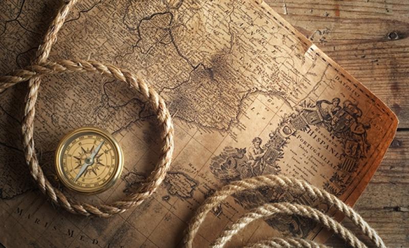 Eski Harita, Pusula ve Halat Tahta Kanvas Tablo