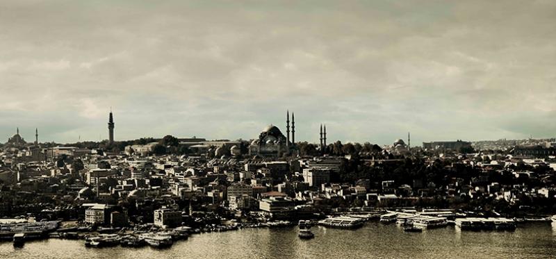 Eski İstanbul Panaromik Dünyaca Ünlü Şehirler Kanvas Tablo