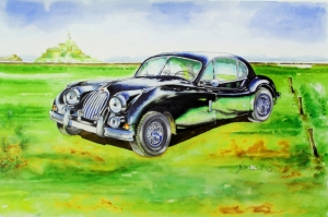 Eski Klasik Arabalar-14A Araçlar Jaguar Vintage Araçlar Kanvas Tablo