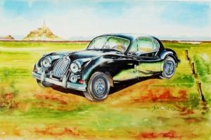Eski Klasik Arabalar-14 Araçlar Jaguar Vintage Araçlar Kanvas Tablo