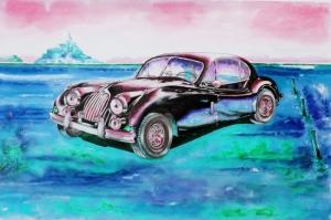Eski Klasik Arabalar-14B Araçlar Jaguar Vintage Araçlar Kanvas Tablo
