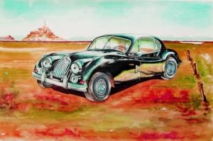 Eski Klasik Arabalar-14C Araçlar Jaguar Vintage Araçlar Kanvas Tablo