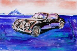 Eski Klasik Arabalar-14D Araçlar Jaguar Vintage Araçlar Kanvas Tablo