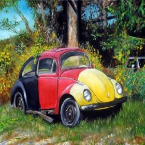 Eski Klasik Arabalar Volkswagen Tosba Yağlı Boya Sanat Dekoratif Kanvas Tablo