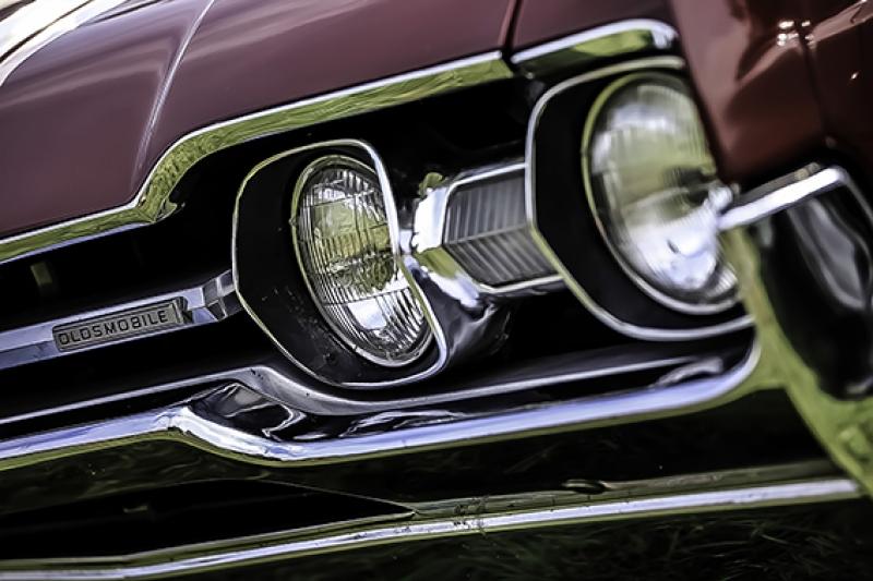 Eski Klasik Otomobil Far Kanvas Tablo