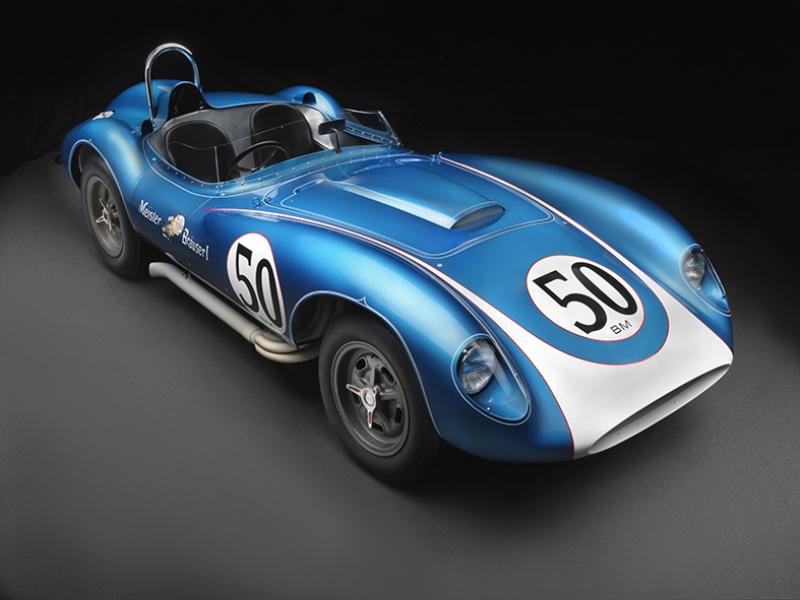 Eski Klasik Spor Otomobil 50 Mavi Kanvas Tablo