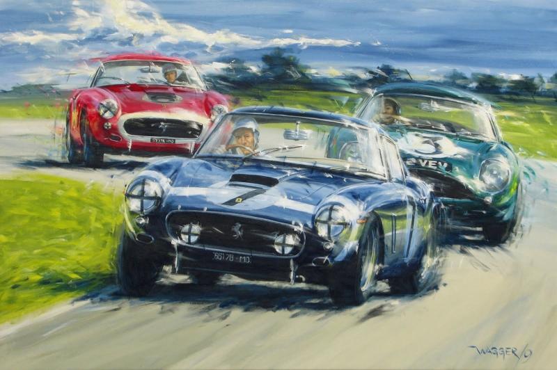 Eski Otomobiller Yarış Modern Sanat Kanvas Tablo