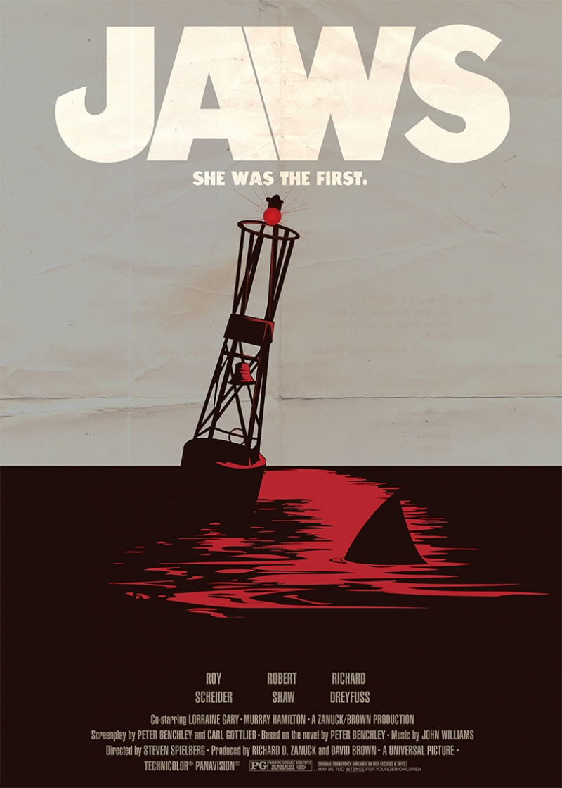 Eski Poster Jaws Movie Retro Kanvas Tablo