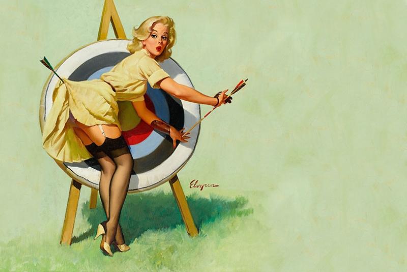 Eski Poster Kız Retro Çizim-13 Kanvas Tablo